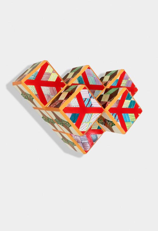 Sanford Biggers Giuoco Piano, 2019 Ceramic, wood 25 1/4 x 25 1/4 x 17 inches 64.1 x 64.1 x 43.2 cm
