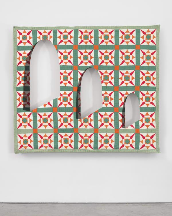 Sanford Biggers Ecclesiastes 1 (KJV), 2020 Antique quilt, assorted textiles, wood 68 x 77 x 3 1/4 inches 172.7 x 195.6 x 8.3 cm