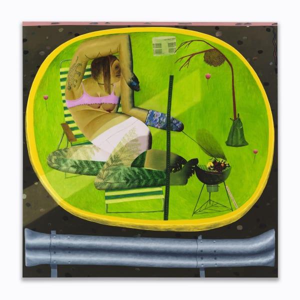 Celeste Rapone, Oasis, 2020. Oil on canvas 70 x 70 in 177.8 x 177.8 cm