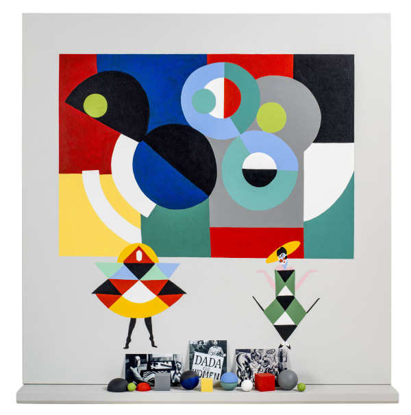 Elsa Zambrano, Sonia Delaunay, 2020, Acrylic on canvas and assemblage, 105 x 100 x 12 cm.