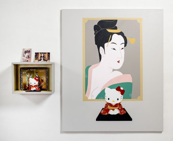 Elsa Zambrano, Utamaro, 2020, acrylic on canvas and assemblage 120 x 146 x 19 cm