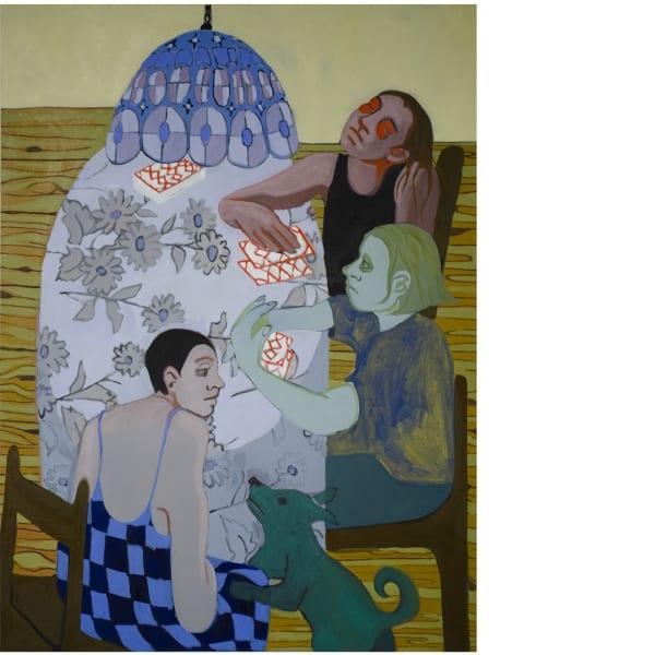 Katja Farin, Bored Card Game, 2021 Oil on canvas 89 x 122 cm