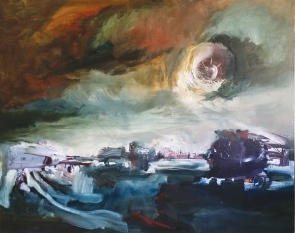 Winter Rusiloski, Luna's Surge, Oil and Collage on Canvas
