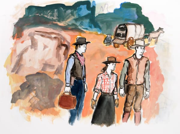 "Linda Blackburn, 'Red Ground Oklahoma' 2015. Watercolor on paper. 18x24."""