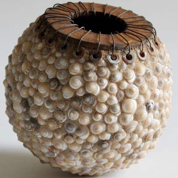"""<span class=""""artist""""><strong>Carolyn Brookes-Davies</strong></span>, <span class=""""title""""><em>Pearl Caged Sand Pot</em>, 2020</span>"""