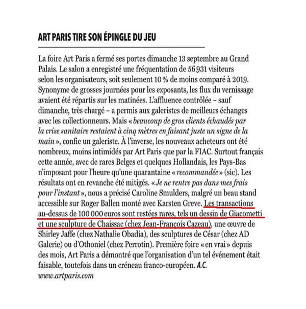 Art Paris tire son épingle du jeu
