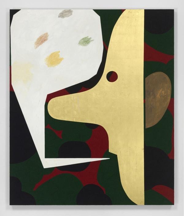 "Dave McDermott, The Talker, 2017, oil, yarn, gold, wax, panel, 75 x 63""."