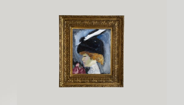KEES VAN DONGEN, Portrait de femme à la plume blanche