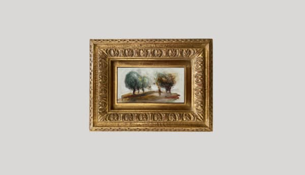 PIERRE-AUGUSTE RENOIR, Personnage, paysage d'arbres (fragment)