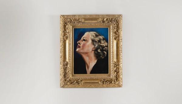 FRANCIS PICABIA, Profil de femme blonde sur fond bleu