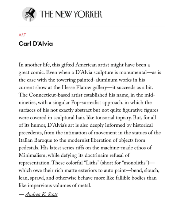 Carl D'Alvia: Sometimes Sculpture Deserves a Break featured in The New Yorker
