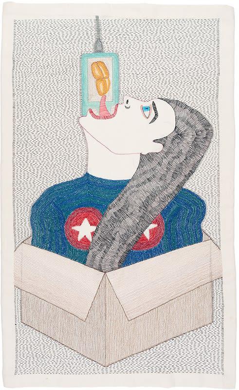 Paloma Castillo, La Caja, 2020, Hand embroidery.