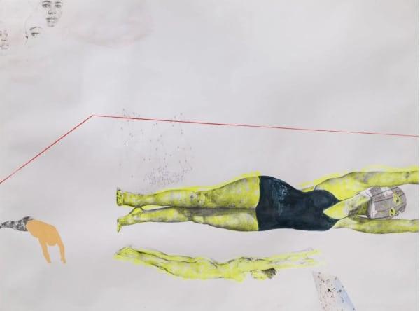 "RUBY ONYINYECHI AMANZE, ""Starfish,"" 2016 (ink, graphite, flourescent acrylic, photo transfers)."
