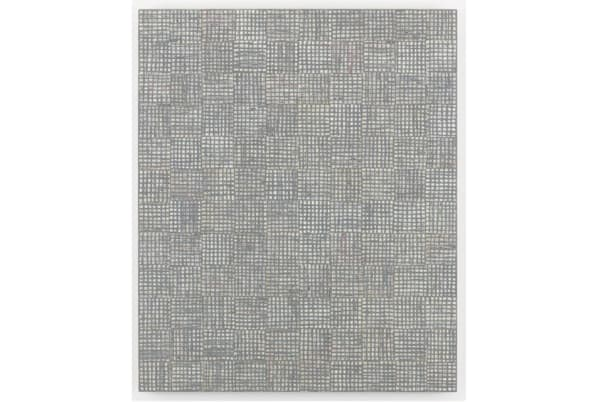 McArthur Binion, dna: seasons: xiii, 2015. Oil paint stick and paper on board, 48 x 40 inches (121.92 x 101.6 cm).