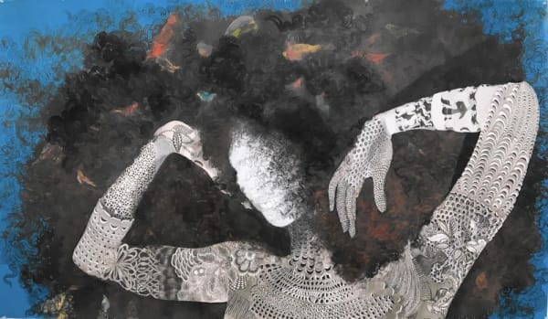 """The """"Vessels of Genealogies"""" exhibit by Firelei Baez features drawings of dark women with cascades of hair, the ghostly descendants of African, Latina and Caribbean great-great-grandmothers and goddesses."""