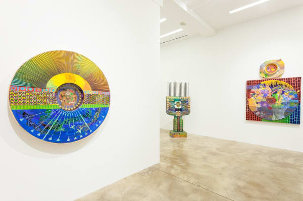 "Installation view of ""Wadsworth Jarrell: Come Saturday Punch,"" Kavi Gupta Gallery in Chicago, July 13-Aug. 3, 2019. Shown at left, ""Eternity,"" 2000 (acrylic, canvas, and wood, 48 x 38 x 3 inches / 121.9 x 96.5 x 7.6 cm). 