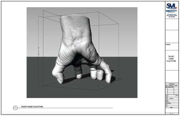 A digital mockup of Tony Tasset's giant hand sculpture.