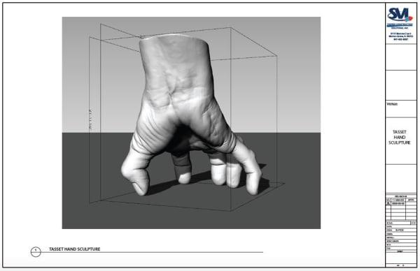 A digital mockup of Tony Tasset's giant hand sculpture.