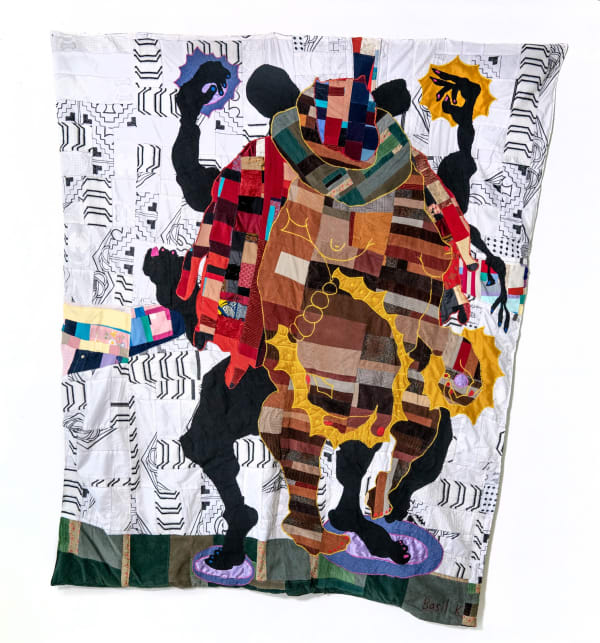 FEATURED IMAGE: BASIL KINCAID, ORDER MY STEPS, 2020, QUILT VINTAGE CORDUROY, DONATED CLOTHES, CLOTHES FROM THE ARTIST, GHANAIAN EMBROIDERED FABRICS, HAND-WOVEN GHANAIAN KENTE, WAX BLOCK PRINT COTTON FABRIC, AND WOOL, 96 X 85 X 1 IN. (IMAGE COURTESY THE ARTIST AND KAVI GUPTA.)
