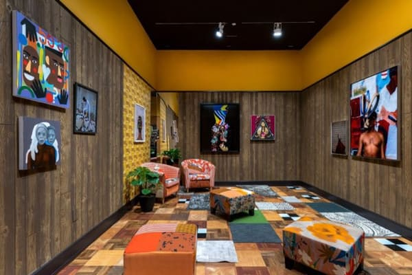 """Installation view of Mickalene Thomas, """"Better Nights ,"""" at The Bass Museum of Art, Miami Beach, 2019. Photo by Zachary Balber. Courtesy of The Bass."""