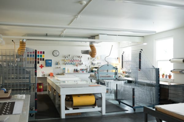 The print studio at Crow's Shadow. Artists work closely with a master printer and produce an edition of about 20 prints.Credit...Celeste Noche for The New York Times