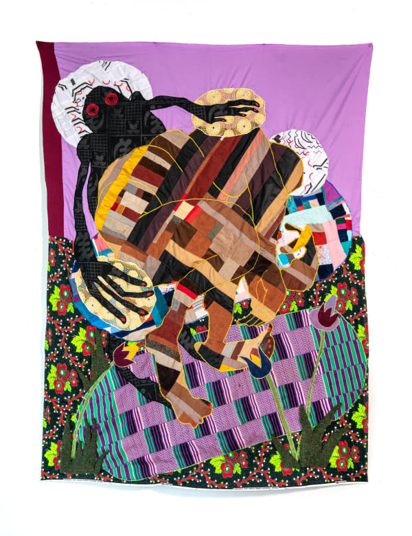 Basil Kincaid, Lullaby, 2021, Quilt, vintage corduroy, donated clothes, clothes from the artist, Ghanaian embroidered fabrics, hand-woven Ghanaian kente, wax block print cotton fabric, and wool, 79 x 58 x 1 in (Image courtesy the artist and Kavi Gupta.)