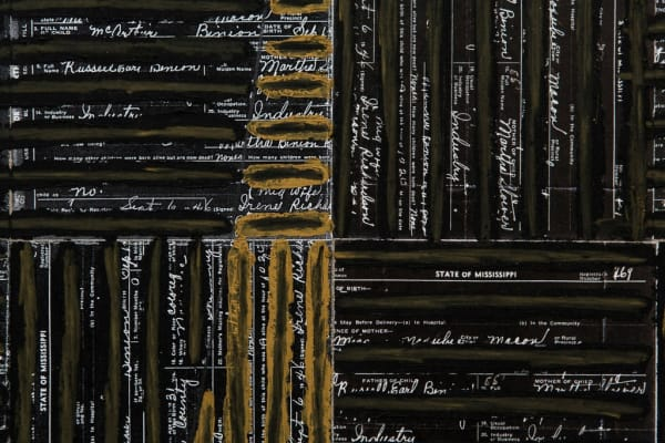 """A detail of """"DNA: Black Painting: V"""" by McArthur Binion at the 2017 Venice Biennale.Credit...Gianni Cipriano for The New York Times"""