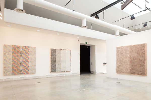 McArthur Binion, 'DNA' series, 2014-16, oil paint stick and paper on board, installation view, Central Pavilion, 57th Venice Biennale. Courtesy: La Biennale di Venezia; photograph: Francesco Galli
