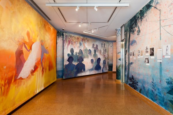"An installation view of Firelei Báez's ""Joy Out of Fire,"" on view at the Schomburg Center for Research in Black Culture through Nov. 24.Credit...John Lusis"