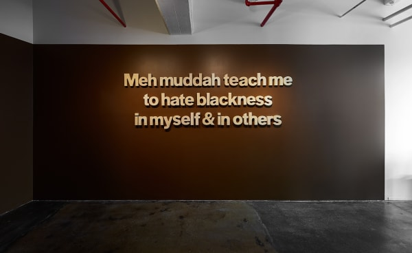Allana Clarke: Meh Muddah Teach Me, 2019, raw unprocessed cocoa butter, dimensions variable.