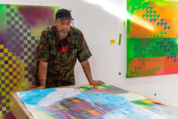 Jeffrey Gibson in his studio