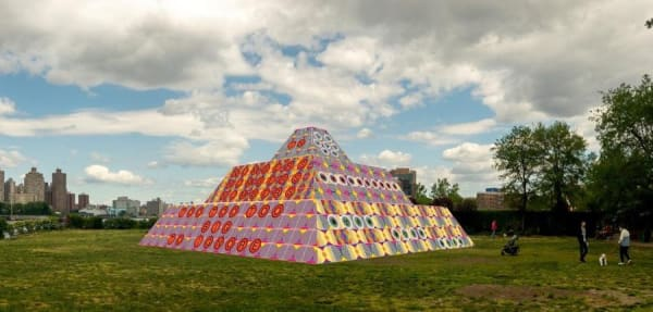 Rendering of Jeffrey Gibson's 'Because Once You Enter My House It Becomes Our House' in the Park's landscape; Courtesy the Artist, Socrates Sculpture Park, Sikkema Jenkins & Co., New York; Kavi Gupta, Chicago