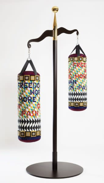 Jeffrey Gibson (Mississippi Band Choctaw/Cherokee), OUR FREEDOM IS WORTH MORE THAN OUR PAIN, 2017. Glass beads, artificial sinew, acrylic felt, steel and brass; 114 x 71 x 42 in. Collection of Vicki and Kent Logan. Courtesy of the artist