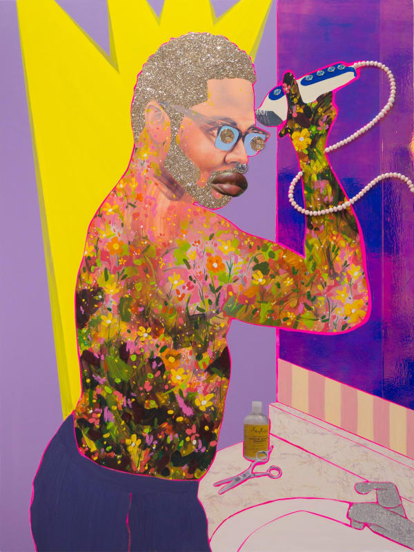 """Michael"" (2018) by Devan Shimoyama, from his show ""Cry, Baby,"" at the Andy Warhol Museum.Credit...Devan Shimoyama, Richard Gerrig and Timothy Peterson"