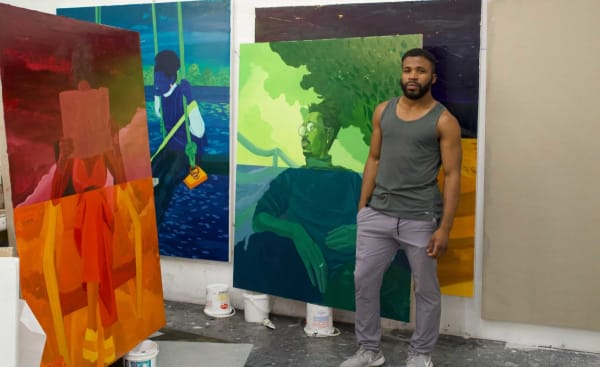 DOMINIC CHAMBERS IN HIS STUDIO IN NEW HAVEN.