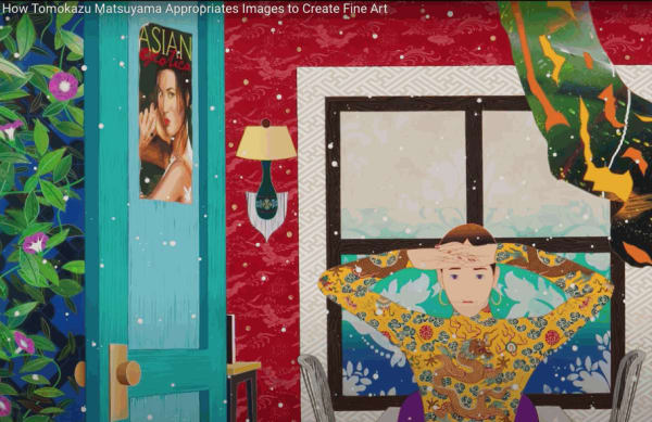 Screenshot from the video How Tomokazu Matsuyama Appropriates Images to Create Fine Art.