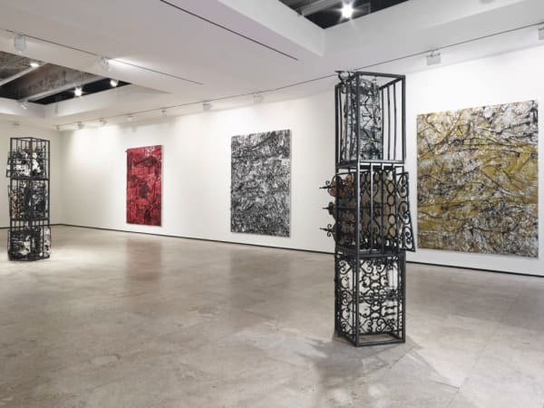 """View of Angel Otero's exhibition """"Gates of Horn and Ivory,"""" 2013. Courtesy Lehmann Maupin."""