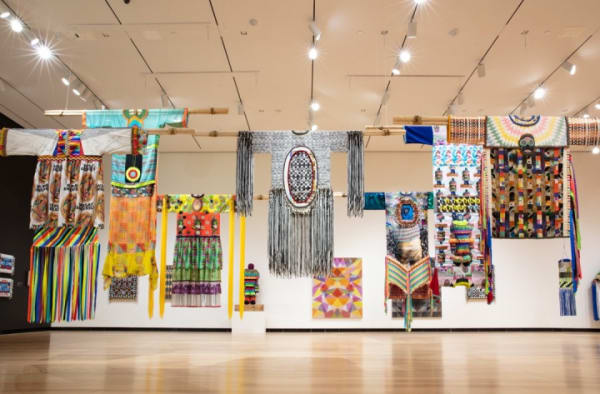 Installation view of Jeffrey Gibson: This Is the Day at the Ruth and Elmer Wellin Museum of Art at Hamilton College, Clinton, NY (image courtesy of the Ruth and Elmer Wellin Museum of Art, photograph by John Bentham)