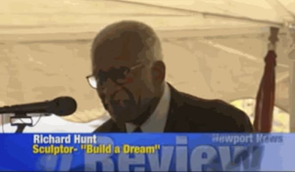 Newport News TV - Build a Dream Sculpture Installation - Richard Hunt
