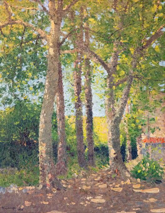 """<span class=""""artist""""><strong>Achille Laugé</strong></span>, <span class=""""title""""><em>Paysage aux Grands Arbres</em>, 1916</span>"""