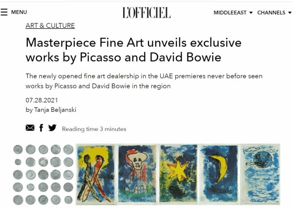 The newly opened fine art dealership in the UAE premieres never before seen works by Picasso and David Bowie in the region