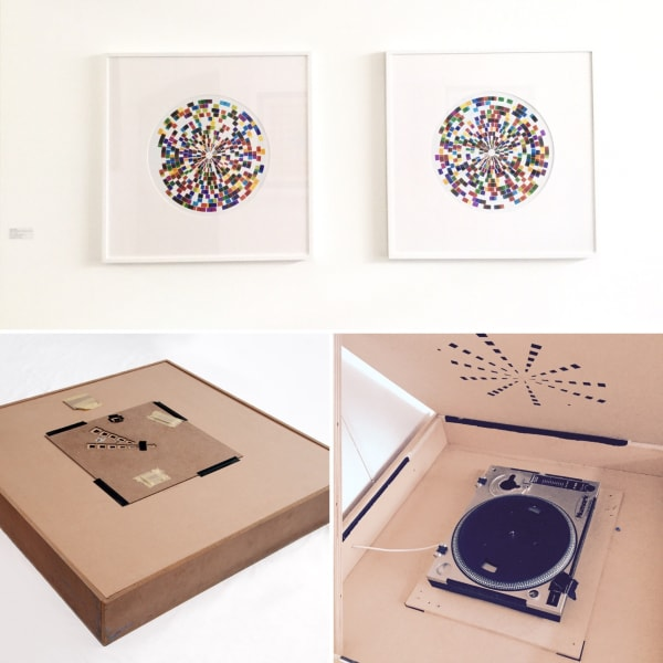 Neil Shirreff, Light Rings, No 4 & No.6, Unique photographic prints, 2013 (top), Light Rings Apparatus /MDF and Turntable, 92 x 92 x 14 cm/, 2013 (bottom)