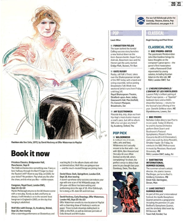 David Hockney, Early Drawings: Sunday Times, Culture