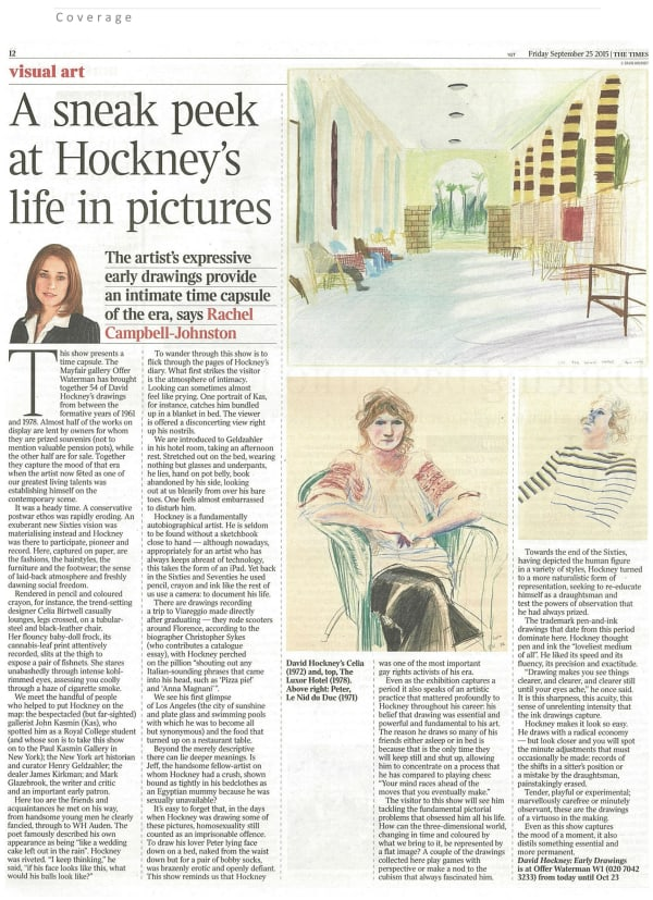 David Hockney, Early Drawings: The Times