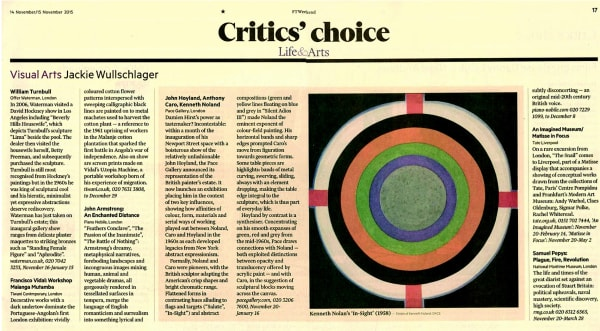 William Turnbull: Critic's Choice in the FT