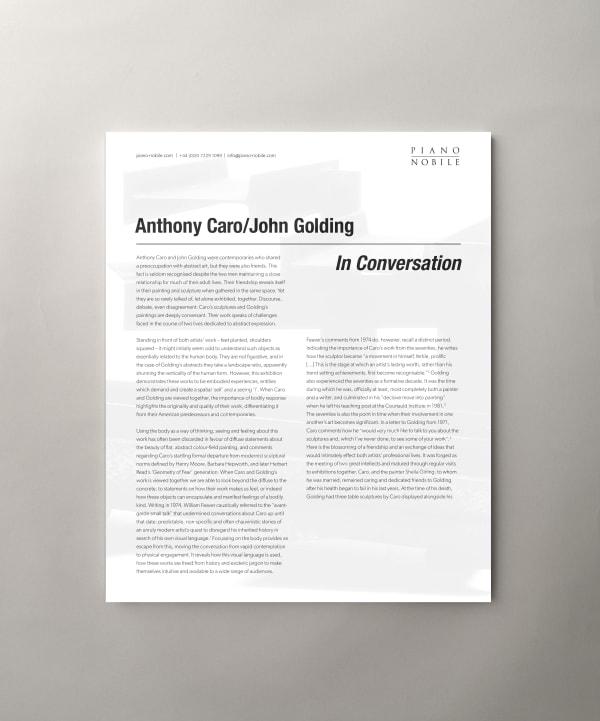 Anthony Caro / John Golding: In conversation