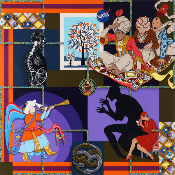 Amir H. Fallah, No Gods No Masters, 2020, Acrylic on canvas, 60 x 60 inches