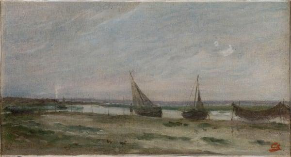 Adolphe-Félix Cals, Le Poudreux bateaux à marée basse, c.1870