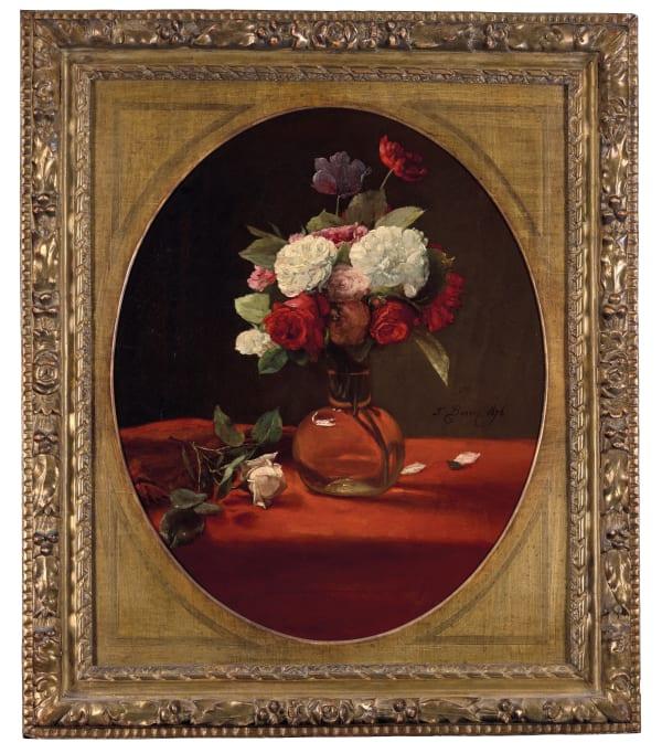 François Bonvin, Vase de fleurs sur une nappe rouge , 1876