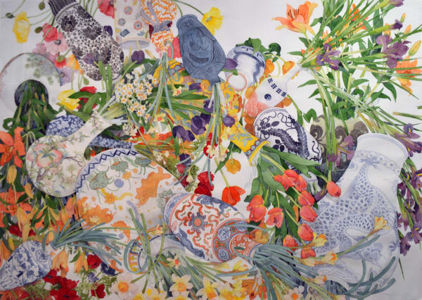 Gary Bukovnik, Spring Fever Tipping Composition with Spring Flowers & Asian Ceramics, 2015